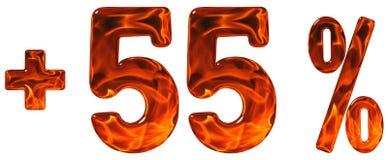 Prozent fördert, plus 55, fünfundfünfzig Prozent, die lokalisierten Ziffern Lizenzfreie Stockfotos