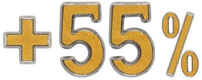 Prozent fördert, plus 55 fünfundfünfzig Prozent, die lokalisierten Ziffern Lizenzfreie Stockfotos
