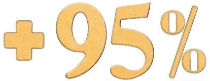 Prozent fördert, plus 95 fünfundneunzig Prozent, die lokalisierten Ziffern Stockbilder