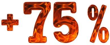 Prozent fördert, plus 75, fünfundsiebzig Prozent, Ziffern isolat Lizenzfreie Stockfotos