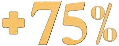 Prozent fördert, plus 75 fünfundsiebzig Prozent, Ziffernisolat Stockfoto