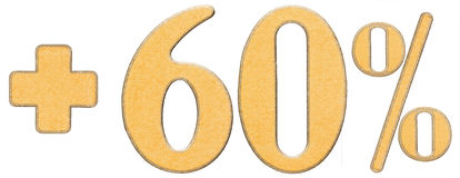 Prozent fördert, plus 60 sechzig Prozent, die Ziffern, die auf wh lokalisiert werden Stockfotografie