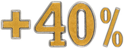 Prozent fördert, plus 40 vierzig Prozent, die Ziffern, die auf wh lokalisiert werden Lizenzfreie Stockbilder