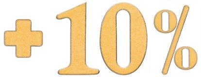Prozent fördert, plus 10 zehn Prozent, die Ziffern, die auf Whit lokalisiert werden Lizenzfreies Stockbild