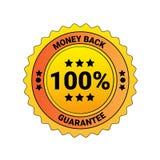 100 Prozent-Geld-Rückseiten-Garantie-Aufkleber lokalisiertes Emblem-Geschäfts-Konzept Lizenzfreies Stockbild