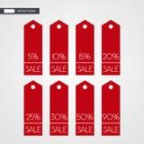 5 10 15 20 25 30 50 90 Prozent heruntergesetzt Einkaufstagvektorikonen Lokalisierte Rabattsymbole stock abbildung