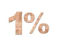 1 Prozent heruntergesetzt hölzerner Parkettbuchstabe lokalisiert auf Weiß Lizenzfreie Stockfotos