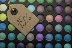 15 Prozent heruntergesetzt im Make-up Stockfotografie