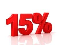15 Prozent heruntergesetzt Rabatt 15% Abbildung 3d auf weißem Hintergrund stock abbildung