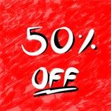 50 Prozent heruntergesetzt und Verkaufs-oder Rabatt-Logo stock abbildung