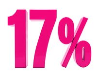 17 Prozent-rosa Zeichen Stockbild