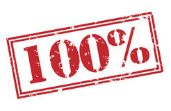 100-Prozent-Stempel auf weißem Hintergrund Stockbild