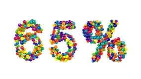 65-Prozent-Symbol mit dynamischen klaren farbigen Bällen Stockfotos