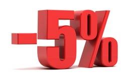5 Prozent Text des Rabattes 3d Lizenzfreies Stockbild