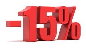 15 Prozent Text des Rabattes 3d Stockfotos