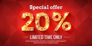 20 Prozent Verkaufs-Hintergrund-mit goldenen glühenden Zahlen stock abbildung