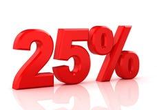 25 Prozent weg Rabatt 25% Abbildung 3d auf weißem Hintergrund Stockfotografie