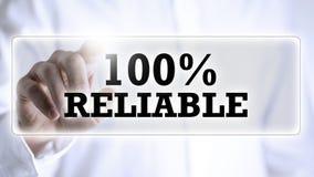 100 Prozent zuverlässig auf einem virtuellen Schirm Lizenzfreie Stockbilder