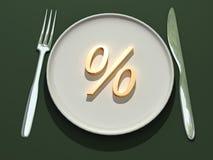 Prozente auf Platte Lizenzfreie Stockbilder