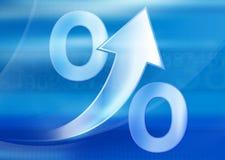 Prozente Wachstum auf einem blauen Hintergrund Lizenzfreies Stockfoto