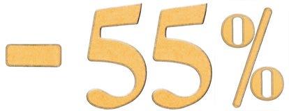 Prozente weg rabatt Minus 55 fünfundfünfzig Prozent Ziffern-ISO Lizenzfreies Stockbild