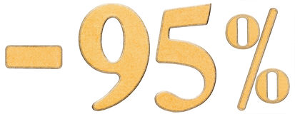 Prozente weg rabatt Minus 95 fünfundneunzig Prozent ist Ziffern Stockbilder