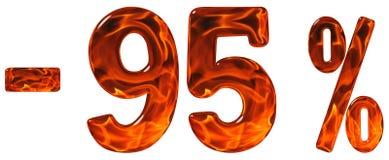 Prozente weg rabatt Minus 95 fünfundneunzig Prozent, Ziffern Lizenzfreie Stockfotos