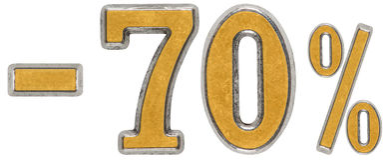 Prozente weg rabatt Minus 70 siebzig, Prozente Metall-numera Lizenzfreies Stockfoto