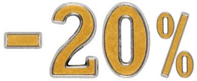 Prozente weg rabatt Minus 20 zwanzig, Prozente Metallziffer Lizenzfreie Stockbilder