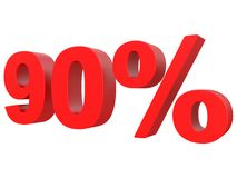 Prozente weg vom Rabatt % roter Text 3d lokalisiert auf einer weißen Wiedergabe des Hintergrundes 3d stock abbildung