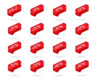 Prozentrabattikonen Verkaufsrabattikonen Rabattumbaugestaltungselemente Händlerpreis-Verkaufsblasenikonen Auch im corel abgehoben vektor abbildung