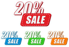 20 Prozentsätze Verkauf, vier Farbaufkleber Stockfotografie