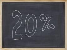 Prozentsatz geschrieben auf eine Tafel Stockfotografie