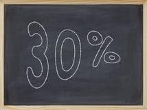 Prozentsatz geschrieben auf eine Tafel Stockbilder