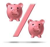 Prozentsatz-Piggy Querneigung Lizenzfreie Stockbilder