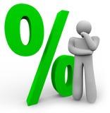 Prozentsatz-Zeichen - denkendes Mann-und Prozent-Symbol Stockfoto