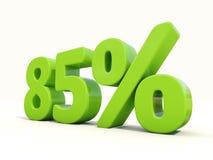85% Prozentsatzikone auf einem weißen Hintergrund Stockbild