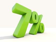 7% Prozentsatzikone auf einem weißen Hintergrund Stockbild