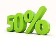50% Prozentsatzikone auf einem weißen Hintergrund Stockbild