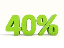 40% Prozentsatzikone auf einem weißen Hintergrund Stockfoto