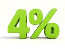 4% Prozentsatzikone auf einem weißen Hintergrund Stockbild