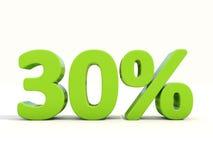 30% Prozentsatzikone auf einem weißen Hintergrund Lizenzfreies Stockfoto