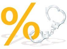Prozentsatzsymbol mit Handschellen Stockfoto