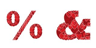 Prozentsatzzeichen u., gemacht von den Herzen Stockfotos