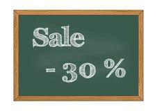 Prozenttafelmitteilung Vektorillustration des Verkaufs -30 stockfoto