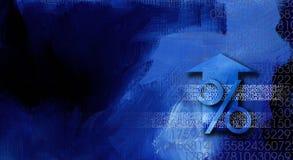 Prozentzeichen mit Pfeil und Zahlen Stockfoto