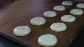 Prozess der Herstellung von macaron, französischer Nachtisch, den Teigformkochbeutel zusammendrückend stock video