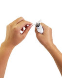 Prozess der Wartung der elektronischen Zigarette Stockfoto