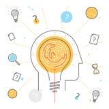 Prozess des Denkens und des Suchens der Lösung Konturnvektor Stockbild