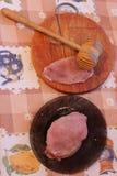 Prozess des Kochens von Hieben, von Fleisch und von Hammer Lizenzfreies Stockfoto